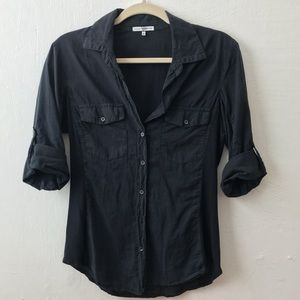 James Perse Ribbed Side Panel Button Down Top